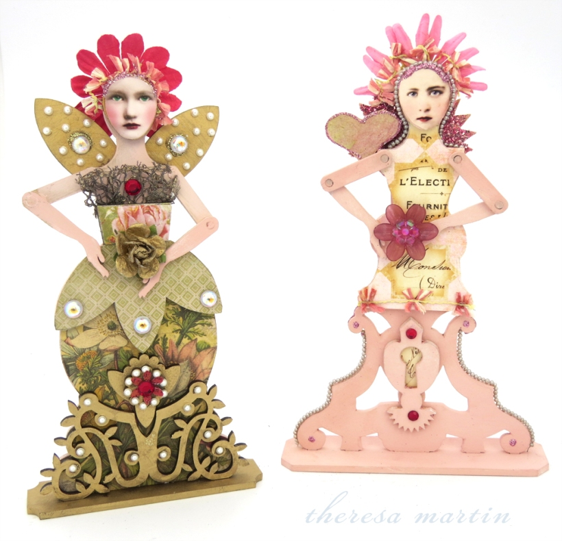 Springtime Garden Santos Doll and Hearts and Flower Santos Doll